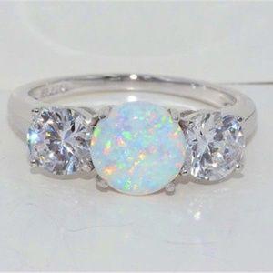 Jewelry - 925 Silver White Fire Opal size 10